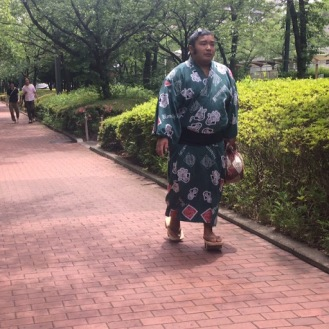 Sumo wrestler heading to his match